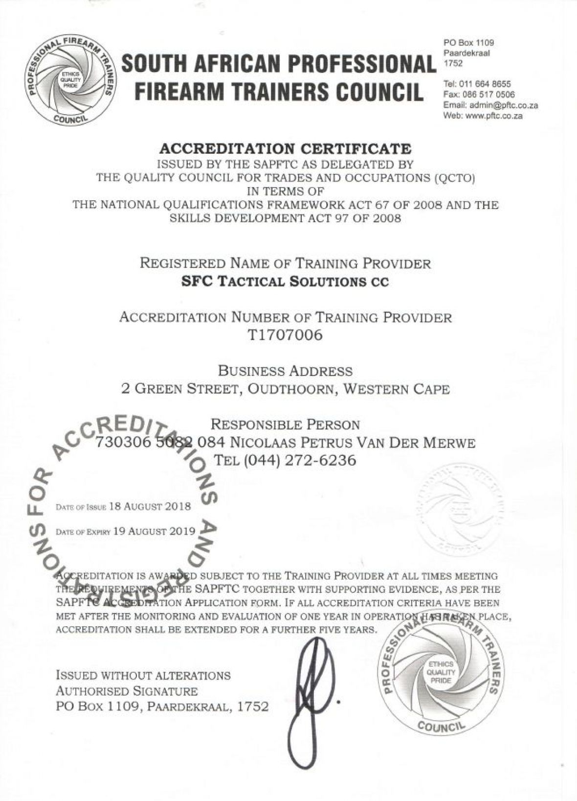 South African Firearms Training Council Accreditation