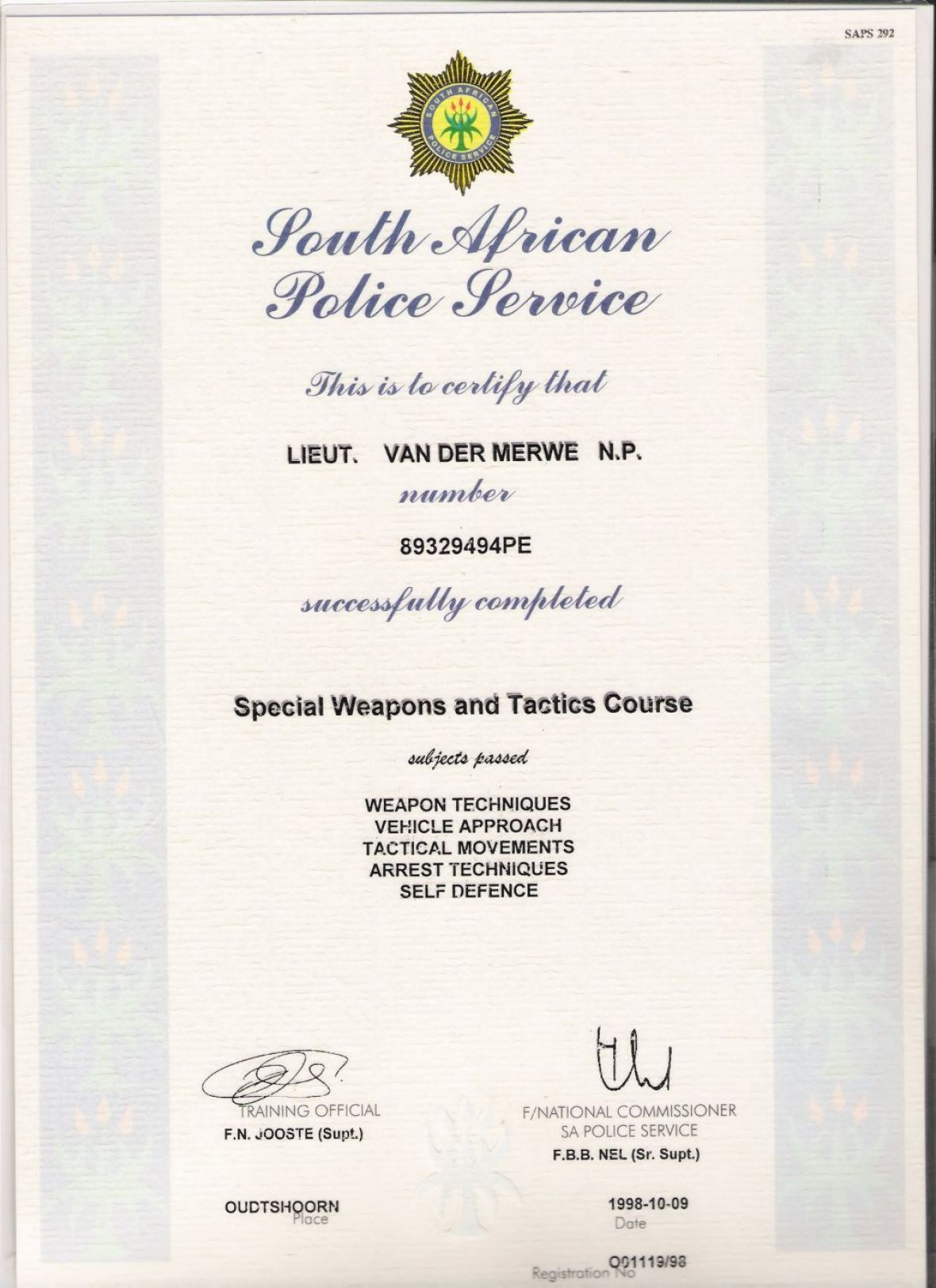 SAPS Special weapons and Tactics (SWAT) Training